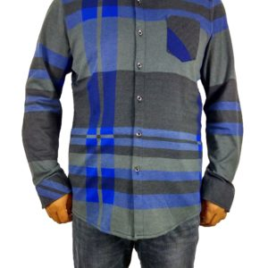 Men's Non Iron Knit Travel Casual Long Sleeve Plaid Shirts (L, Blue) – 50% Off